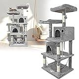 XMTECH Kratzbaum 145cm Höhe Kletterbaum Katzenmöbel für Katzen mit Häuschen und Liegemulde, Plüsch-Sitzmulden, Sisal umwickelte Kratzstellen - Hellgrau