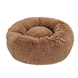 Chunchun Rundes Deluxe-Haustierbett für Hunde und Katzen, Plüsch, weich, warm, waschbar, Sofakissen für mittelgroße und extra große Haustiere, 100 x 100 x 20 cm (Farbe: Kaffee, Größe: 70 x 70 x 20 cm)