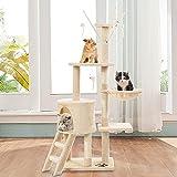 wangmengzi Kratzbaum für Katzen, 146 cm, 3 Etagen, stabiles Klettergerüst für Katzen, Aktivitätsbäume für den Innenbereich, Spielhaus für Kätzchen, Beige