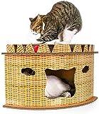 Wxxdlooa Cat Scratcher, fächerförmige Corrugated Cat House Villa Nest Karton Cat Scratch Board mit Spielzeug-Kugel-Tunnel geeignet for Möbel Schutz