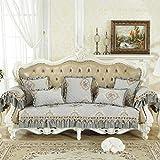 ENLAZY Europäisches Chenille Silikon Anti-Rutsch-Sofakissen Sofa Schonbezüge Couchbezug Möbelbezug Waschbarer Möbelschutz für Kinder,Haustiere,Light Grey,(68 * 18)** 210length