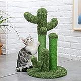 ImmerGlück Kaktus Katzen Kratzbaum Kratzmöbel Sisal Grün Natur Klein Große Katzen Kreativer Kratzstamm Kratzschutz Grüner Cactus Scratching Tree (Größe M)
